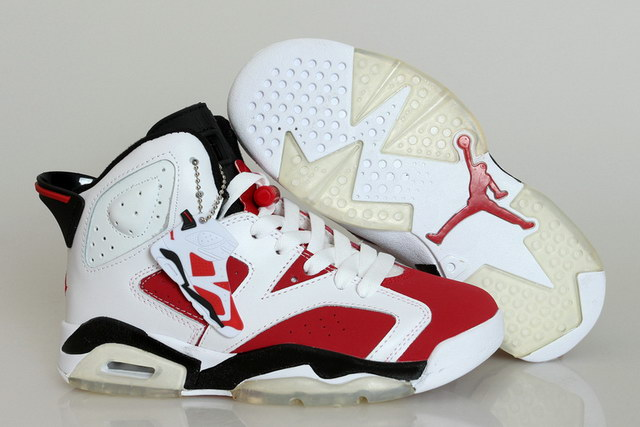 Womens Air Jordan 6 Shoes Carmine red/white black